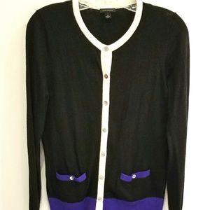 Ann Taylor black and purple cardigan size M